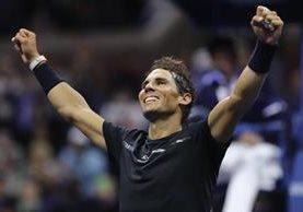 Rafael Nadal festejó luego de vencer a Juan Martín Del Potro. (Foto Prensa Libre: AFP)