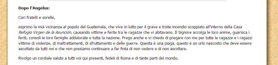 Extracto en italiano del mensaje del Papa durante el Angelus en el que expresa cercanía con Guatemala por tragedia. (Foto: del sitio w2.vatican.va)