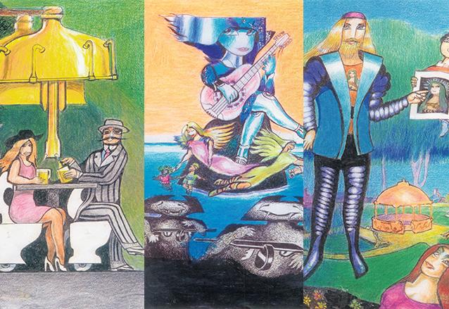 Efraín Recinos hizo 15 de 25 ilustraciones que acompañarían un libro de relatos escrito por él. Aparecen: el Cervecípedo, Los Ángeles guardianes y El Niño de aquí es. (Foto: Hemeroteca PL)