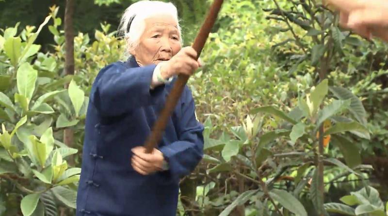 Imagen de videno capta a Zhang Hexian muestra su agilidad mientars práctica el kung-fu.