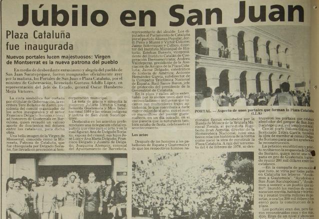 Nota de Prensa Libre del 26 de noviembre de 1984 que informaba sobre la inauguración de la nueva plaza central de San Juan Sacatepéquez.