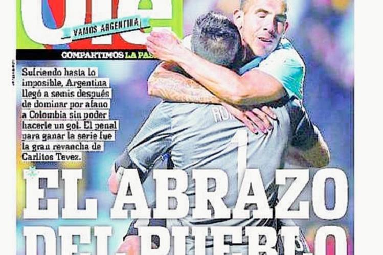 Ésta fue la emotiva portada de Diario Olé, tras la clasificación de Argentina. (Foto Prensa Libre: Diario Olé)
