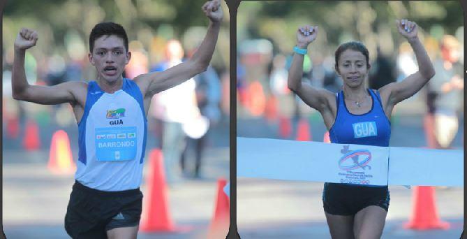 Alejandro Barrondo y Mayra Herrera fueron los ganadores de los 20 kilómetros marcha del Campeonato Centroamericano. (Foto Prensa Libre: Norvin Mendoza)