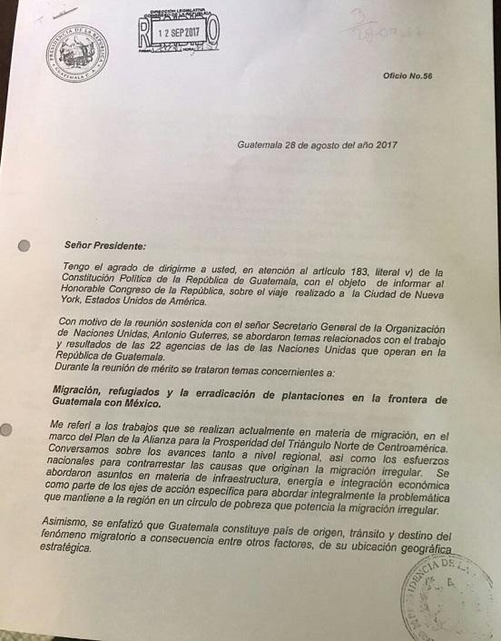 Informe de la Presidencia sobre el último viaje del mandatario Jimmy Morales a la ONU. (Foto Prensa Libre: Cortesía La Red)