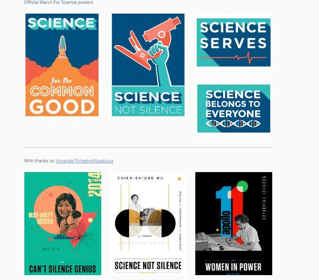 Posters oficiales de la marcha por la ciencia. (Foto del sitio marchforscience.com