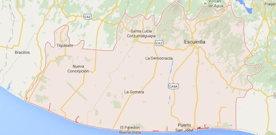 Mapa de Escuintla, donde se dictó la condena. (Foto Prensa Libre: Map Google).
