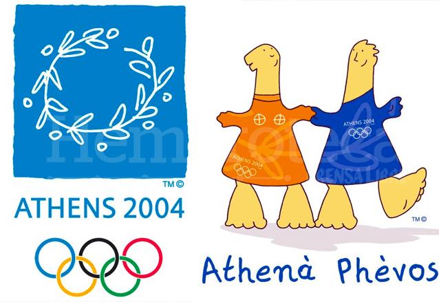 El logo oficial y las mascotas Athenà y Phèvos de los Juegos Olímpicos de Atenas 2004. (Foto: Hemeroteca PL)