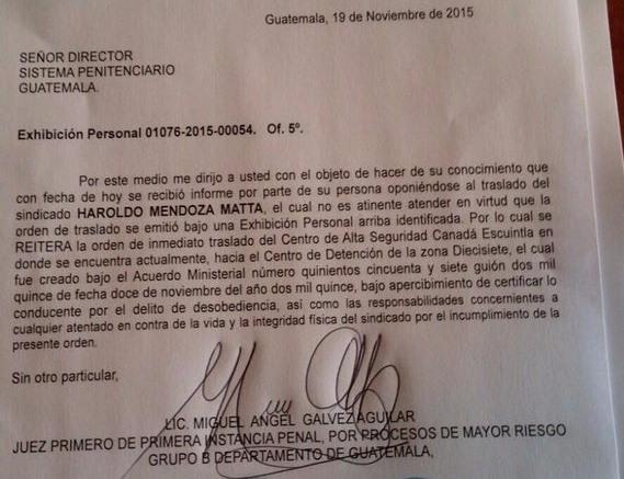 Carta donde se reitera el traslado de Haroldo Mendoza a la cárcel de Mariscal Zavala.