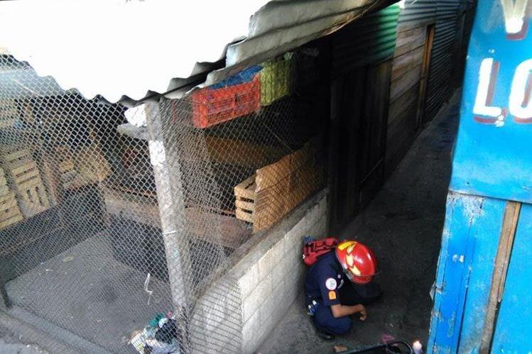 Un bombero municipal revisa el cuerpo de la mujer, muerta en La Terminal, zona 4. (Foto Prensa Libre: Estuardo Paredes)