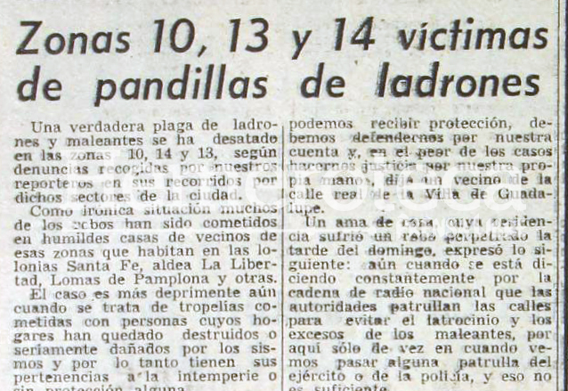 Las denuncias por saqueos luego del Terremoto de 1976 eran constantes. (Foto Prensa Libre: Hemeroteca)