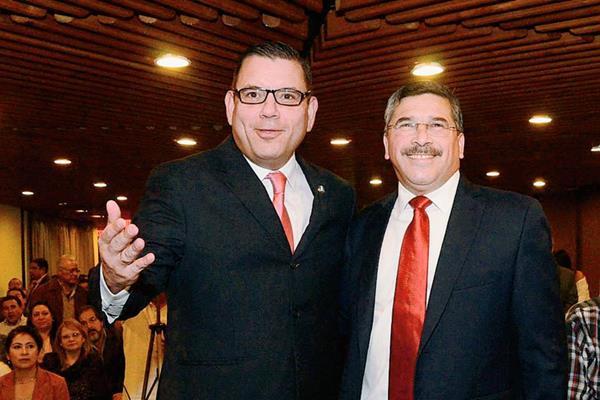 Manuel Baldizón y Édgar Barquín, precanditatos a la presidencia y vicepresidencia de Líder. (Foto Prensa Libre: HemerotecaPL).