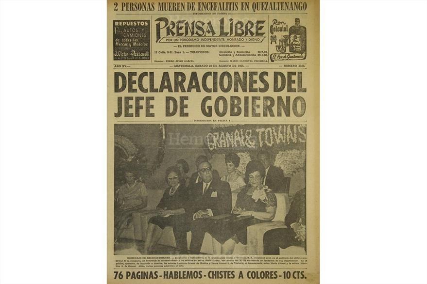Portada de Prensa Libre del 28 de agosto de 1965. (Foto: Hemeroteca PL)
