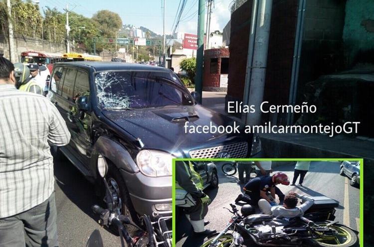 Accidente donde resultó herido un motorista en la zona 10. Foto Prensa Libre: Amílcar Montejo.
