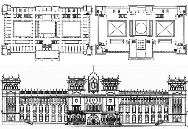 Planos del Palacio Nacional, proyectado por Rafael Pérez de León e inspirado en el Palacio de los Condes de Monterrey, Salamanca, España. (Foto: Hemeroteca PL)