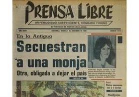 Portada del 3/11/1989 informa sobre el secuestro de una monja en Antigua Guatemala. (Foto: Hemeroteca PL)
