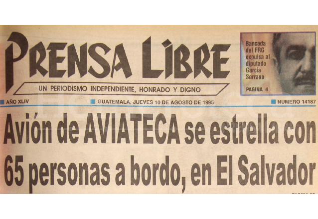 Titular de Prensa Libre del 10 de agosto de 1995. (Foto: Hemeroteca PL)