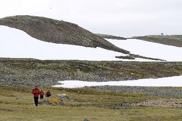 Un grupo de científicos camina en Bahía Almirantazgo, en las Islas Shetland del Sur, Antártida. (Foto Prensa Libre: EFE)