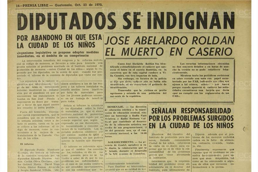 Nota sobre estado lamentable del reeducativo de San José Pinula, en octubre de 1970. (Foto: Hemeroteca PL)