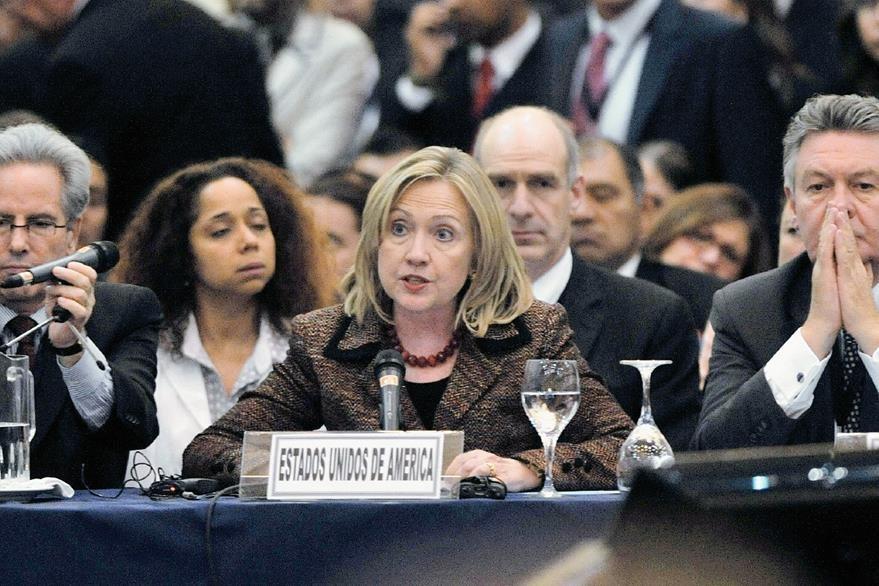 La Secretaria de Estado Hillary Clinton durante una intervención en la Conferencia sobre seguridad en el 2011. Foto: AFP