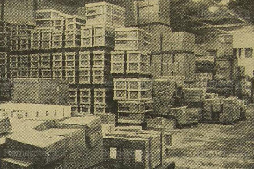 28/01/1964. Bodegas de la aduana central en donde se almacenaba la mercadería de los comerciantes. (Foto: Hemeroteca PL)