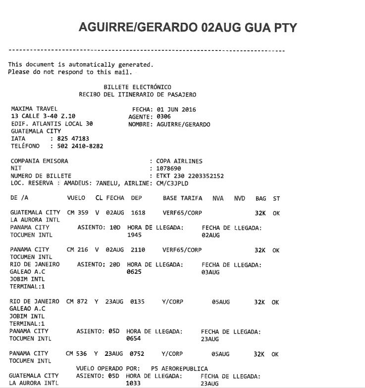 Este es el itinerario de Gerardo Aguirre para ir a los Juegos de Brasil.