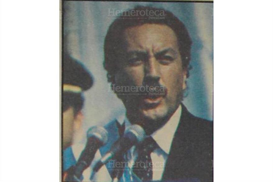 Vinicio Cerezo da su último discurso como presidente el 14 de enero de 1991, antes de entregar el mando a Jorge Serrano Elías. (Foto: Hemeroteca PL)
