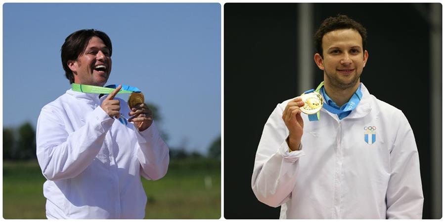 Los guatemaltecos muestran su medalla. (Foto Prensa Libre: Cortesía COG)