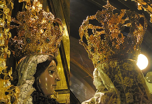 Primer plano de la corona enriquecida con numerosas piedras preciosas. (Foto: Néstor Galicia)