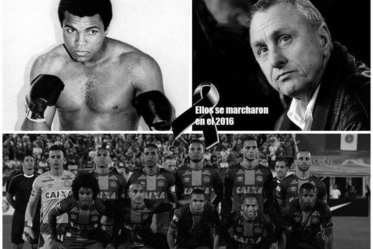 Las muertes de Alí, Cruyff y Chapecoense enlutaron el deporte durante el 2016. (Foto Prensa Libre: Hemeroteca)