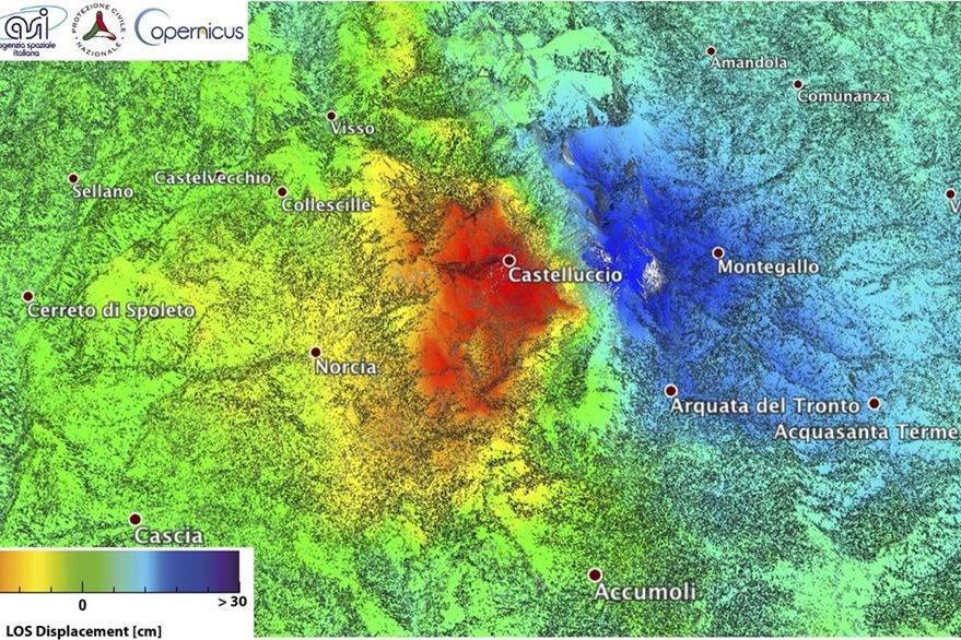 La imagen satelital muestra (en rojo) el área que más fue deformada con el poderoso sismo. (Foto Prensa Libre: AP).
