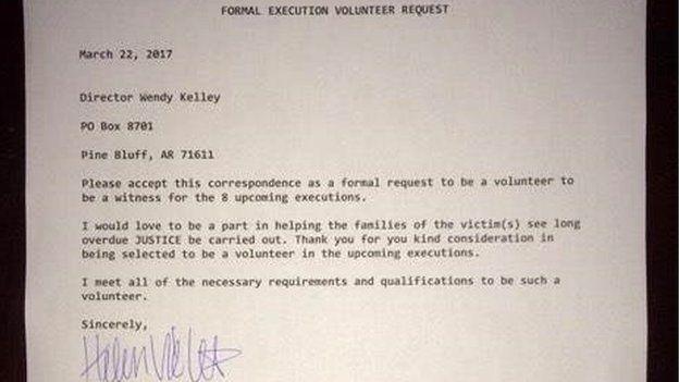 La carta de solicitud para ser voluntaria que envió Beth Viele. BETH VIELE