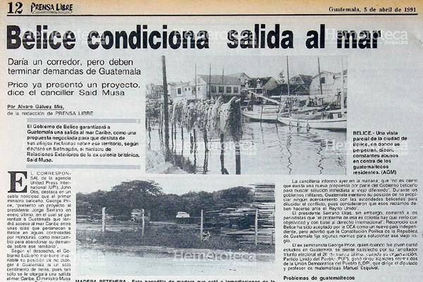 Nota del 5 de abril de 1995 donde se informaba de las negociaciones con Belice. Foto: Hemeroteca PL