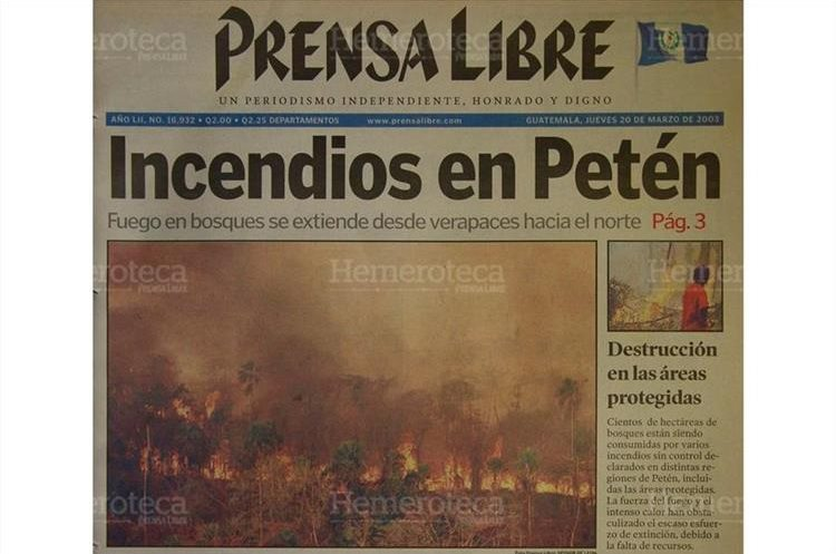 Cientos de hectáreas de bosques están siendo consumidas por varios incendios sin control declarados en distintas regiones de Petén. 20/3/2003. (Foto: Hemeroteca PL)