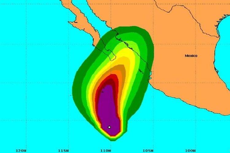 Ubicación del huracán Sandra.