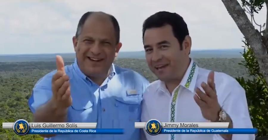 Los presidentes de Costa Rica y Guatemala promocionan turismo regional en El Mirador, Petén. (Foto Prensa Libre: Youtube)