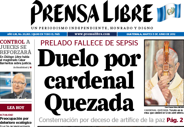 Titular de Prensa Libre del 5 de junio de 2012. (Foto: Hemeroteca PL)