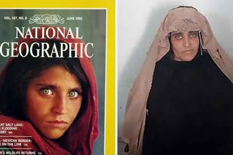 Sharbat Gula, a la izquierda en la famosa portada del National Geographic de 1985, a la derecha, detenida en Pakistán. (Foto: AFP).