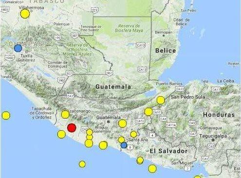 Epicentro del sismo se registró a 28 km de Retalhuleu, según informó la Conred. (Foto Prensa Libre: Conred)