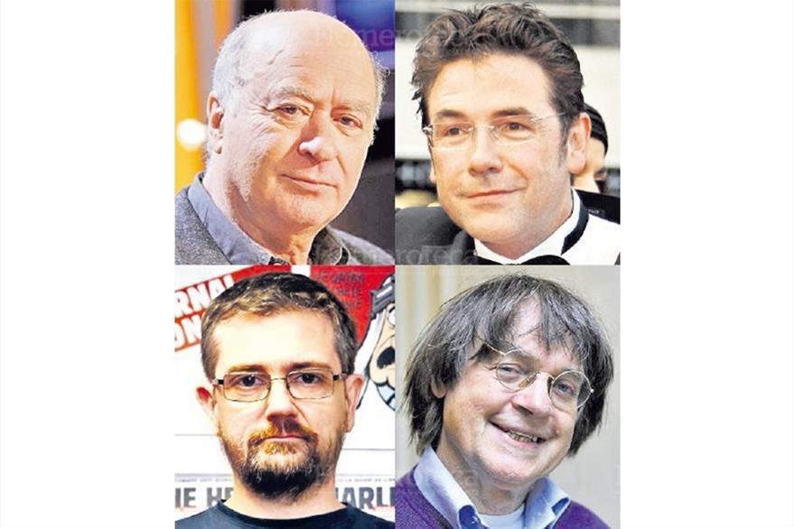 Los caricaturistas franceses del semanario Charlie Hebdo, Georges Wolinski, Bernard Verlhac, S. Charbonnier y  Jean Cabut, asesinados por terroristas el 7/1/2015. (Foto: Hemeroteca PL)