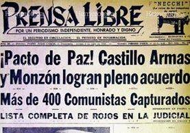 Titular del 2 de junio de 1954 anunciando el acuerdo entre Castillo Armas y Monzón. (Foto: Hemeroteca PL)