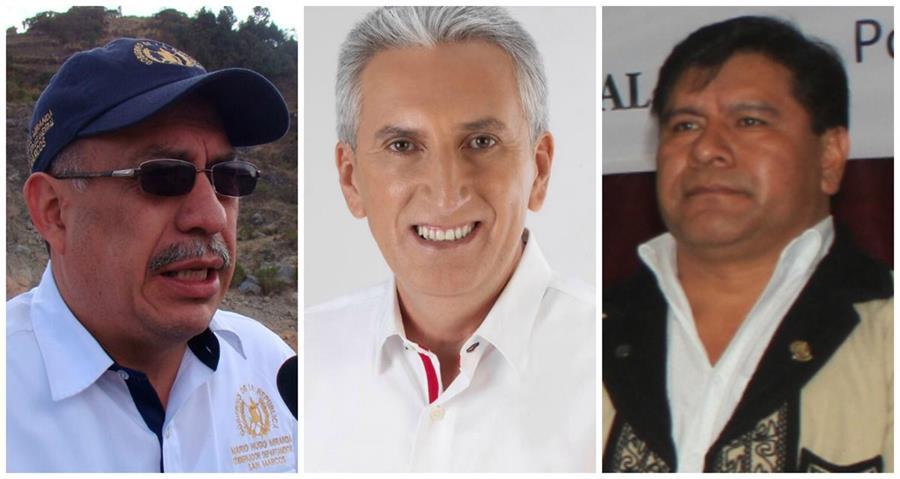 Gobernadores Mario Miranda, San Marcos; Marco Aurelio Pineda, Santa Rosa, y Alberto Chumil, Sololá. (Foto: Hemeroteca PL)