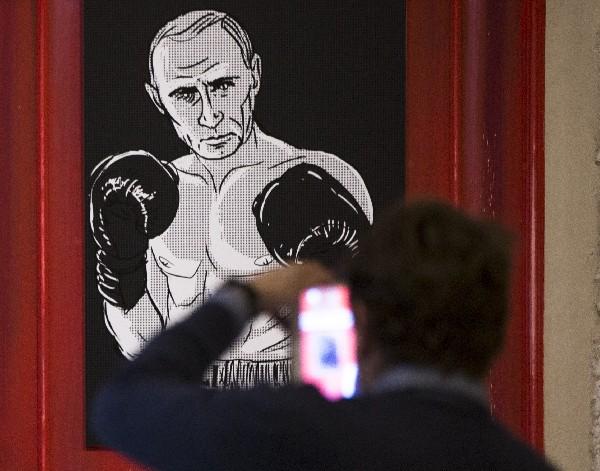 Una obra que representa el presidente ruso, Vladimir Putin, como el legendario Muhammad Ali.
