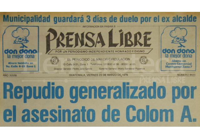 Titular de Prensa Libre del 23/03/1979. (Foto: Hemeroteca PL)