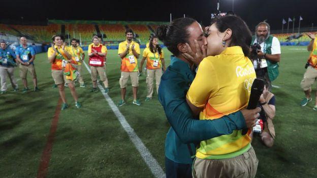 La pareja vive en Sao Paulo desde que Cerullo se mudó a Brasil hace dos años para concentrarse en el equipo olímpico. (Getty Images)