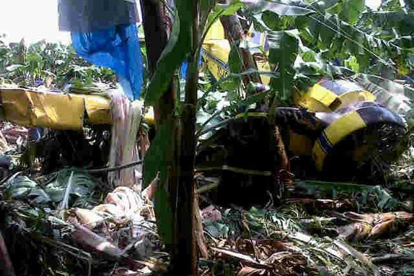 <p>Nave aérea cayó en la aldea Limones. (Fotografía Prensa Libre: Bomberos Departamentales)</p>
