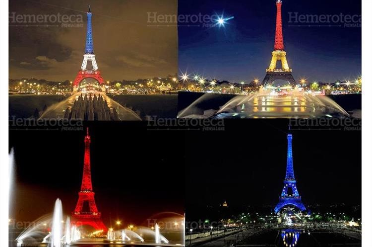 La torre Eiffel ha sido iluminada por distintos acontecimientos; los colores de luz más usados han sido los de la bandera nacional francesa. (Foto: Hemeroteca PL)