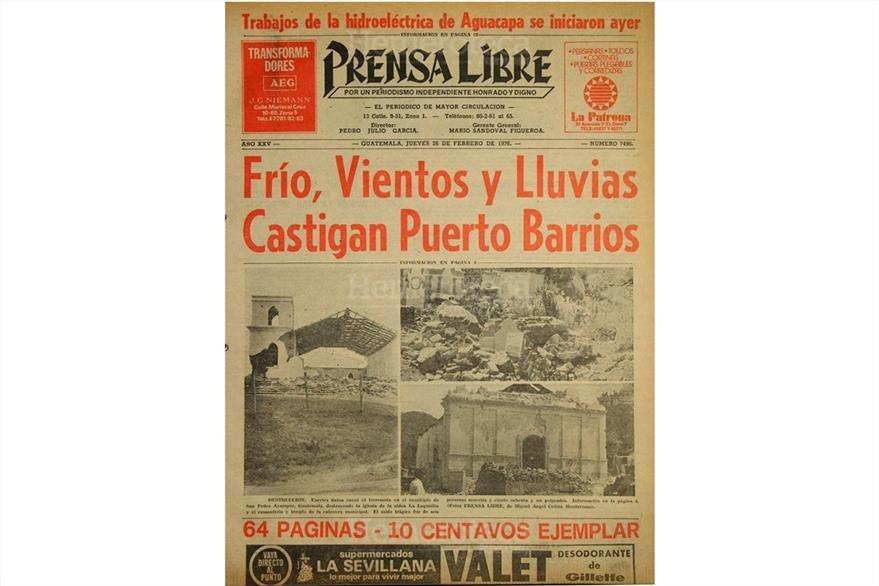 Portada del 26 de febrero de 1976, con dos aspectos contrastantes: el inicio de trabajos en Aguacapa y dos imágenes del terremoto del 4 de febrero de ese año. (Foto: Hemeroteca PL)