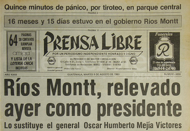 Titular de Prensa Libre del 9 de agosto de 1983. (Foto: Hemeroteca PL)