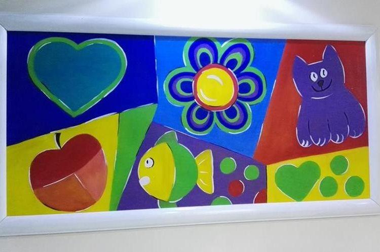 Niños reciben cursos de pintura y sus obras decoran las paredes del hospital. (Foto Prensa Libre: Roni Pocón)