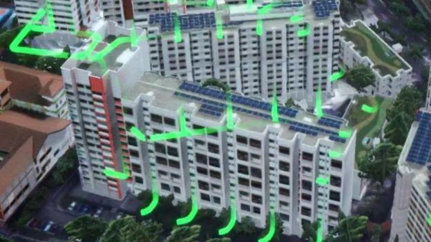 Este mapa 3D muestra cómo se gestionan los residuos en distintos edificios.